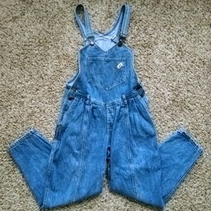 VTG 80s Guess Denim Bib Pleated Overall med wash